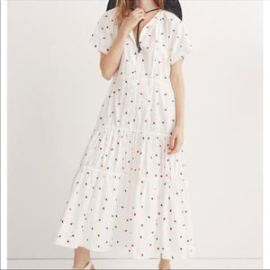 Madewell embroidered fresh strawberries maxi dress
